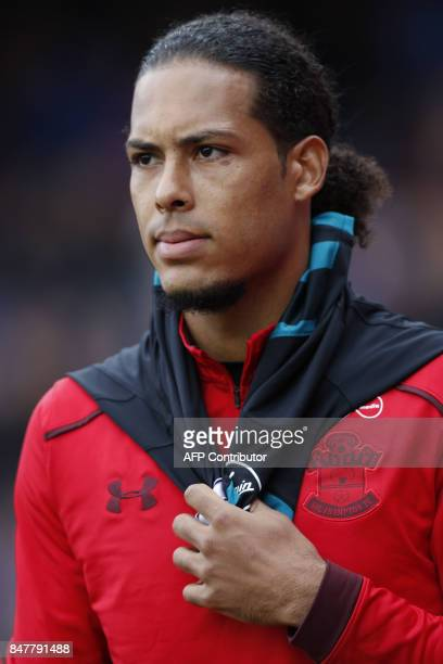 Southampton's Dutch defender Virgil van Dijk looks on prior to the English Premier League football match between Crystal Palace and Southampton at...