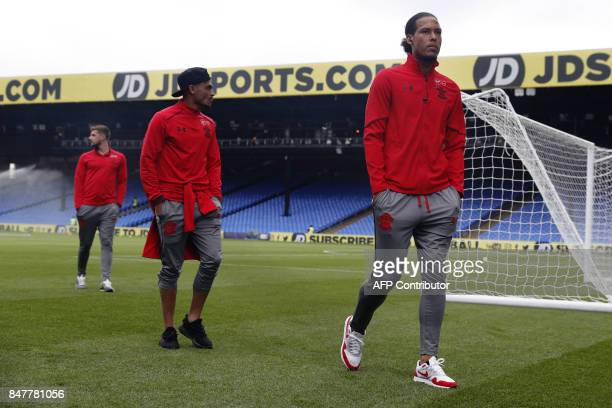 Southampton's Dutch defender Virgil van Dijk walks with teammates prior to the English Premier League football match between Crystal Palace and...