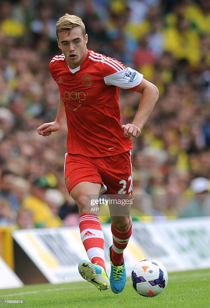 Southampton's English defender <a gi-track='captionPersonalityLinkClicked' href=/galleries/search?phrase=Calum+Chambers+-+Soccer+Player&family=editorial&specificpeople=10599271 ng-click='$event.stopPropagation()'>Calum Chambers</a> controls the ball during the English Premier League football match between Norwich City and Southampton at Carrow Road in Norwich, eastern England on August 31, 2013. USE. No use with unauthorized audio, video, data, fixture lists, club/league logos or 'live' services. Online in-match use limited to 45 images, no video emulation. No use in betting, games or single club/league/player publications