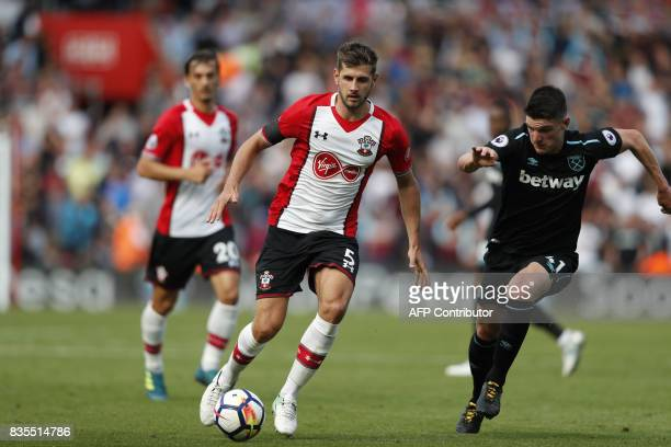 Southampton's English defender Jack Stephens controls the ball during the English Premier League football match between Southampton and West Ham...