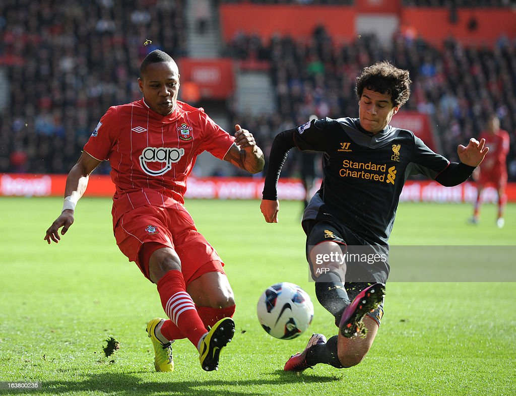 "Southampton's English defender Nathanel Clyne (L) vies with Liverpool's Brazilian midfielder Phillipe Coutinho during the English Premier League football match between Southampton and Liverpool at St Mary's Stadium in Southampton on March 16, 2013. Southampton won 3-1. AFP PHOTO/ Olly GREENWOOD - RESTRICTED TO EDITORIAL USE. No use with unauthorized audio, video, data, fixture lists, club/league logos or ""live"" services. Online in-match use limited to 45 images, no video emulation. No use in betting, games or single club/league/player publications."