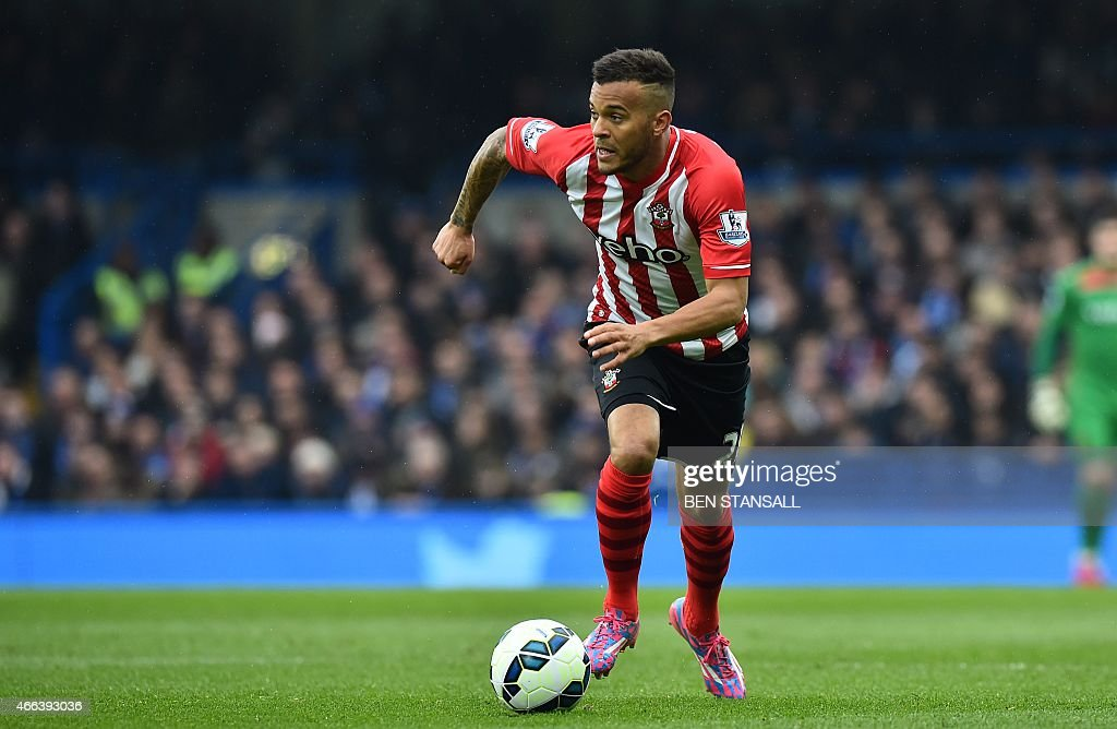 Southampton's English defender Ryan Bertrand runs with the ball during the English Premier League football match between Chelsea and Southampton at...