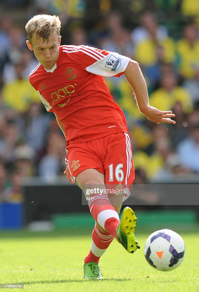 Southampton's English midfielder James Ward-Prowse passes the ball during the English Premier League football match between Norwich City and Southampton at Carrow Road in Norwich, eastern England on August 31, 2013. USE. No use with unauthorized audio, video, data, fixture lists, club/league logos or 'live' services. Online in-match use limited to 45 images, no video emulation. No use in betting, games or single club/league/player publications