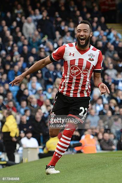 Southampton's English midfielder Nathan Redmond celebrates scoring the opening goal during the English Premier League football match between...