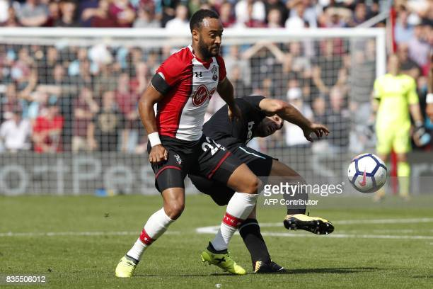 Southampton's English midfielder Nathan Redmond vies with West Ham United's Argentinian defender Pablo Zabaleta during the English Premier League...