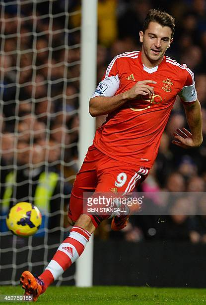 Southampton's English striker Jay Rodriguez celebrates after scoring the opening goal during the English Premier League football match between...