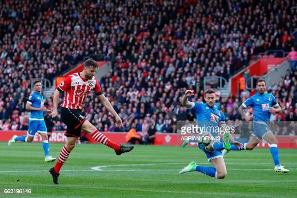 Southampton's English striker Jay Rodriguez has an unsuccessful shot during the English Premier League football match between Southampton and...