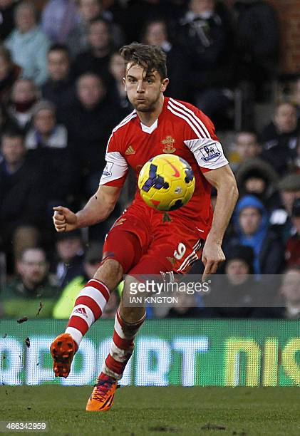 Southampton's English striker Jay Rodriguez shoots to score a goal during the English Premier League football match between Fulham and Southampton at...