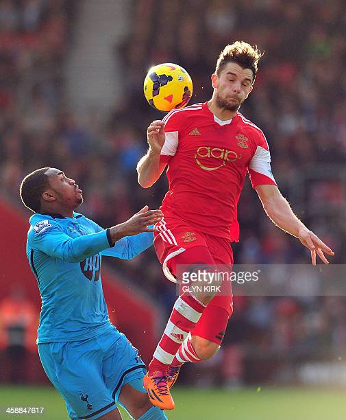 Southampton's English striker Jay Rodriguez vies with Tottenham Hotspur's English defender Danny Rose during the English Premier League football...
