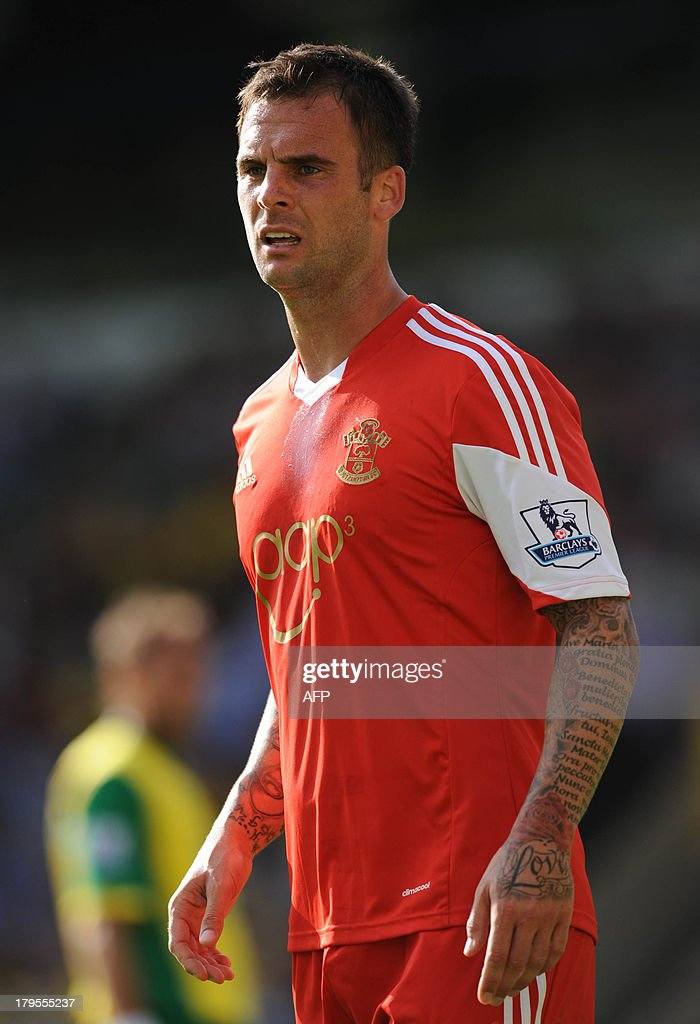 Southampton's English-born Scottish defender Daniel Fox reacts during the English Premier League football match between Southampton and Norwich City at Carrow Road in Norwich, eastern England on August 31, 2013. USE. No use with unauthorized audio, video, data, fixture lists, club/league logos or 'live' services. Online in-match use limited to 45 images, no video emulation. No use in betting, games or single club/league/player publications