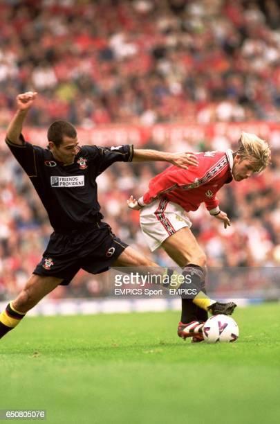Southampton's Francis Benali tackles Manchester United's David Beckham