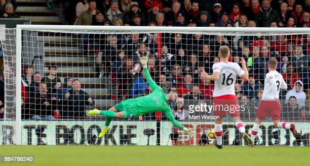 Southampton's Fraser Forster is beaten by Ryan Fraserâs strike during the Premier League match between AFC Bournemouth and Southampton at the...