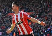 Southampton's Irish striker Shane Long celebrates after scoring during the English Premier League football match between Southampton and Newcastle at...