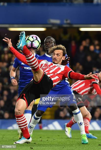 Southampton's Italian striker Manolo Gabbiadini attempts an overhead kick during the English Premier League football match between Chelsea and...