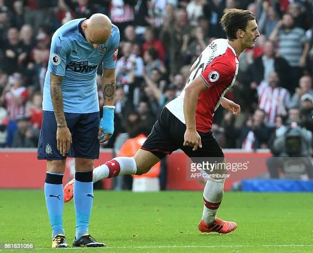 Southampton's Italian striker Manolo Gabbiadini celebrates scoring their first goal to equalise during the English Premier League football match...