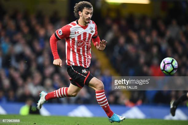 Southampton's Italian striker Manolo Gabbiadini runs with the ball during the English Premier League football match between Chelsea and Southampton...