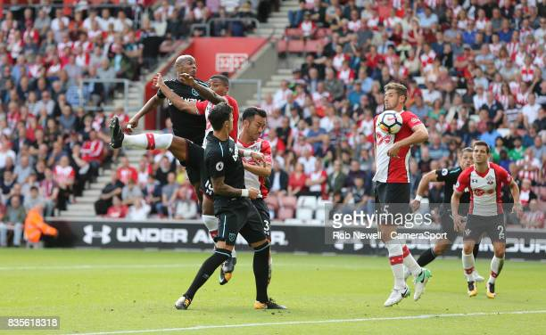 Southampton's Jack Stephens appears to handle West Ham United's Andre Ayew's header but no penalty was awarded during the Premier League match...