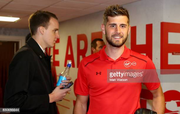 Southampton's Jack Stephens arrives ahead of the Premier League match between Southampton and Swansea City at St Mary's Stadium on August 12 2017 in...