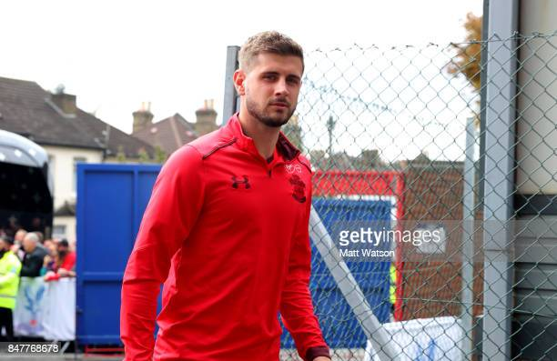 Southampton's Jack Stephens arrives ahead of the Premier League match between Crystal Palace and Southampton at Selhurst Park on September 16 2017 in...