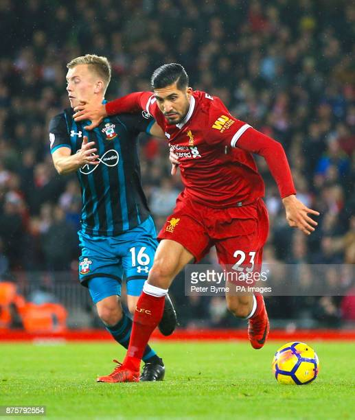 Southampton's James WardProwse and Liverpool's Emre Can battle for the ball during the Premier League match at Anfield Liverpool