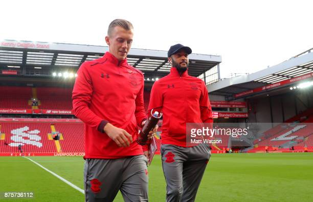 Southampton's James WardProwse and Nathan Redmond ahead of the Premier League match between Liverpool and Southampton at Anfield on November 18 2017...