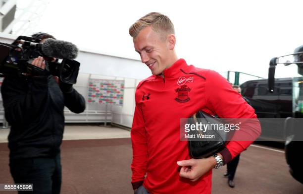 Southampton's James WardProwse arrives ahead of the Premier League match between Stoke City and Southampton at the Bet365 Stadium on September 30...