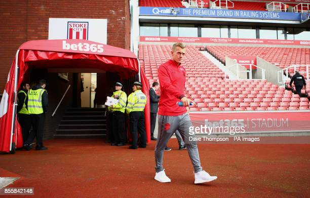 Southampton's James WardProwse arriving before the Premier League match at the bet365 Stadium Stoke