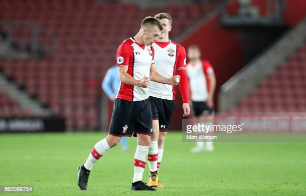 Southampton's James WardProwse celebrates his goal during the Premier League 2 match between Southampton U23 and Newcastle United U23 at St Mary's...