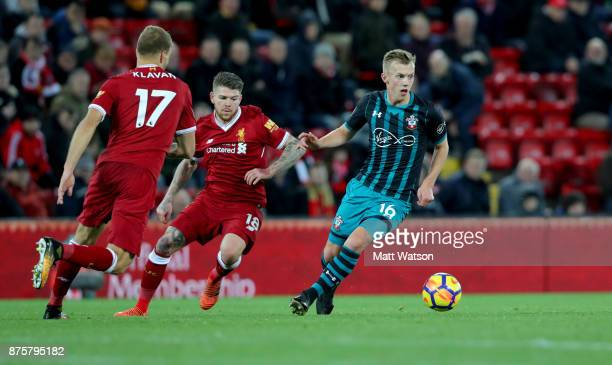 Southampton's James WardProwse during the Premier League match between Liverpool and Southampton at Anfield on November 18 2017 in Liverpool England