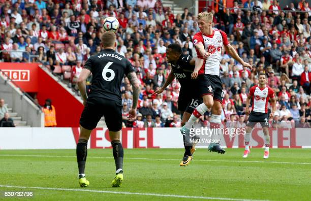 Southampton's James WardProwse heads at goal during the Premier League match between Southampton and Swansea City at St Mary's Stadium on August 12...
