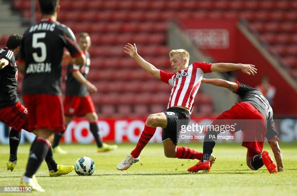 Southampton's James WardProwse in action against Bayer Leverkusen's Stefan Reinartz during the preseason friendly at St Mary's Southampton