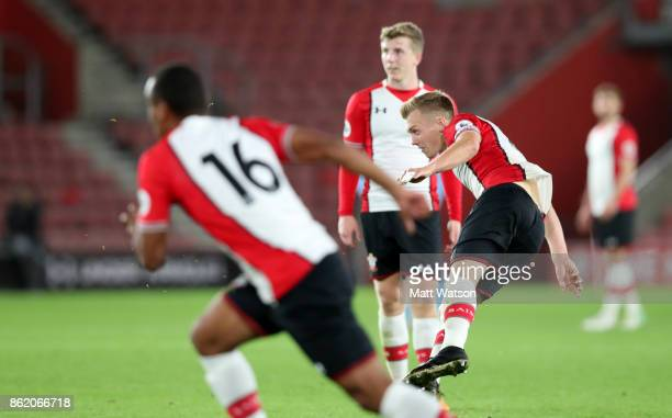Southampton's James WardProwse sees his freekick hit the back of the net during the Premier League 2 match between Southampton U23 and Newcastle...