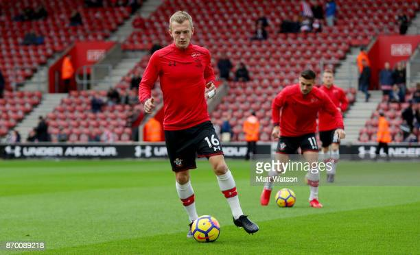 Southampton's James WardProwse warms up ahead of the Premier League match between Southampton and Burnley at St Mary's Stadium on November 4 2017 in...