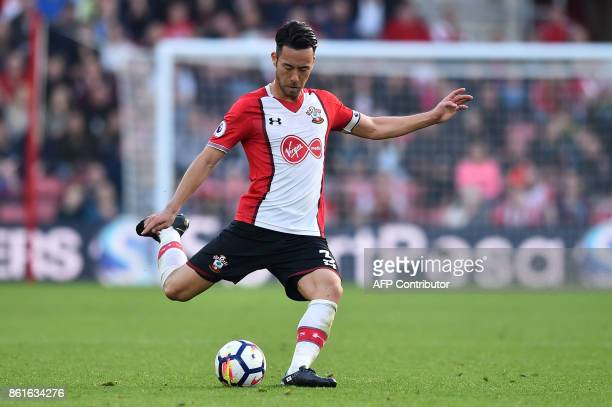 Southampton's Japanese defender Maya Yoshida plays the ball during the English Premier League football match between Southampton and Newcastle United...