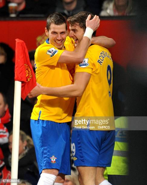 Southampton's Jay Rodriguez celebrates scoring his side's first goal of the game with teammate Morgan Schneiderlin