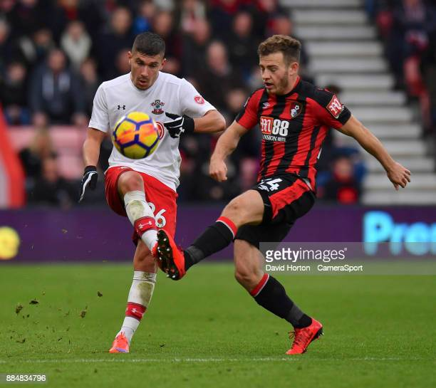 Southampton's Jeremy Pied crosses the ball despite the attentions of Bournemouth's Ryan Fraser during the Premier League match between AFC...