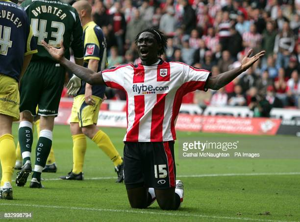 Southampton's Kenwyne Jones appeals to the linesman for a penalty