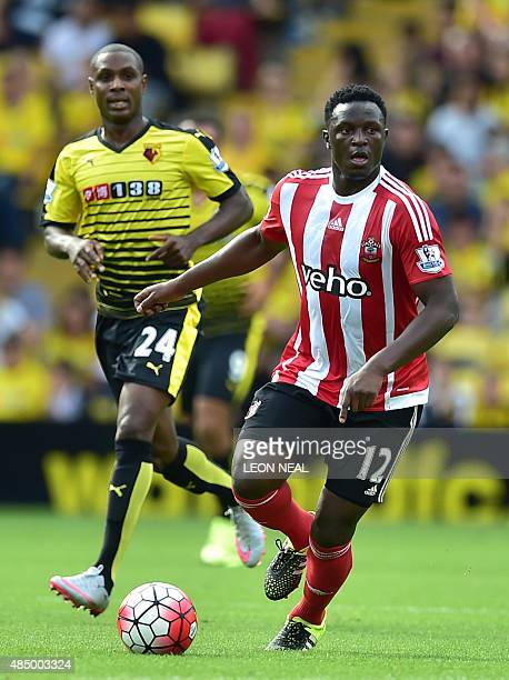 Southampton's Kenyan midfielder Victor Wanyama runs with the ball during the English Premier League football match between Watford and Southampton at...