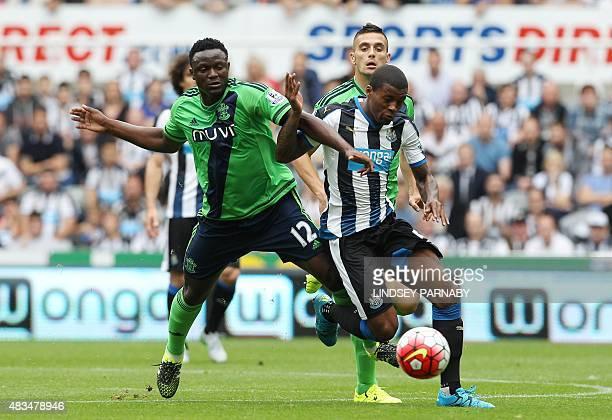 Southampton's Kenyan midfielder Victor Wanyama vies with Newcastle United's Dutch midfielder Georginio Wijnaldum during the English Premier League...