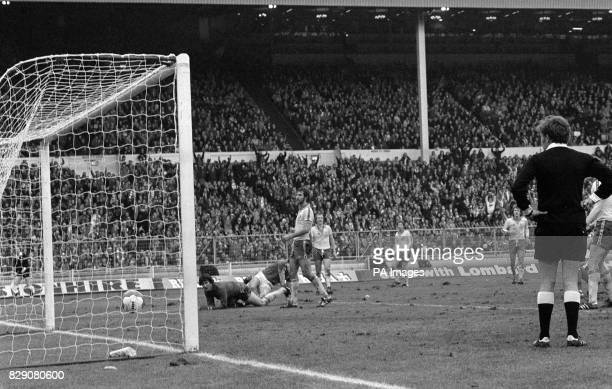 Southampton's League Cup hopes disappear as a shot from Tony Woodcock enters the net for Nottingham Forest in the Football League Cup Final at Wembley