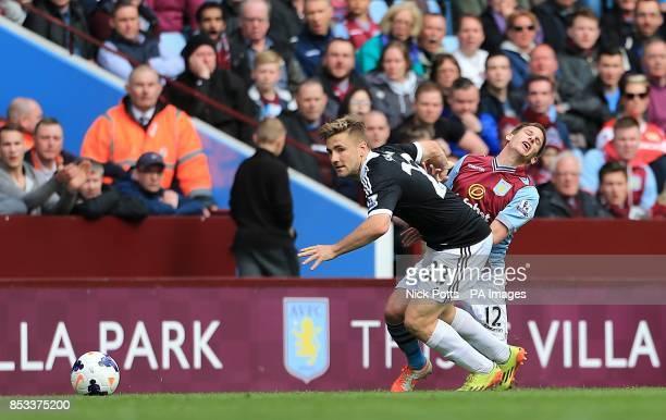 Southampton's Luke Shaw and Aston Villa's Marc Albrighton battle for the ball