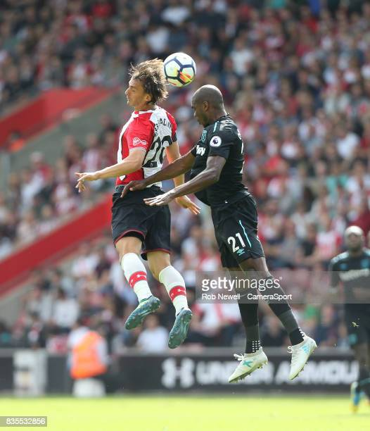 Southampton's Manolo Gabbiadini and West Ham United's Angelo Ogbonna during the Premier League match between Southampton and West Ham United at St...