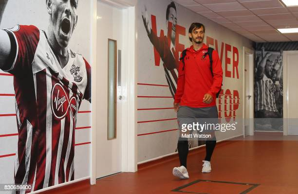 Southampton's Manolo Gabbiadini arrives ahead of the Premier League match between Southampton and Swansea City at St Mary's Stadium on August 12 2017...