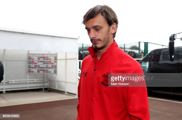Southampton's Manolo Gabbiadini arrives ahead of the Premier League match between Stoke City and Southampton at the Bet365 Stadium on September 30...