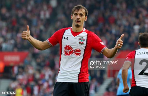 Southampton's Manolo Gabbiadini celebrates during the Premier League match between Southampton and Newcastle United at St Mary's Stadium on October...