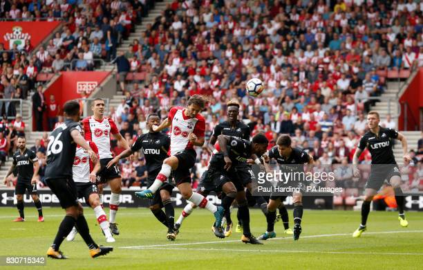 Southampton's Manolo Gabbiadini hits the crossbar with a header during the Premier League match at St Mary's Stadium Southampton