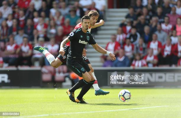 Southampton's Manolo Gabbiadini scores his sides first goal during the Premier League match between Southampton and West Ham United at St Mary's...