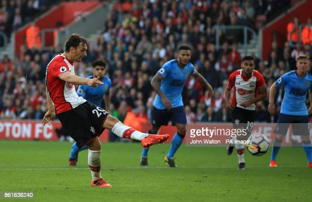 Southampton's Manolo Gabbiadini scores his side's second goal of the game from the penalty spot during the Premier League match at St Mary's...