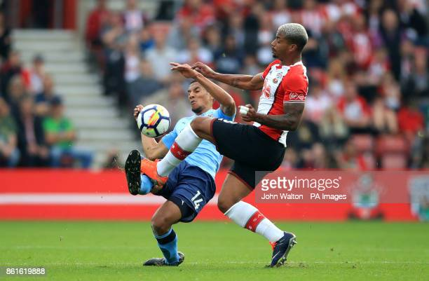 Southampton's Mario Lemina and Newcastle United's Isaac Hayden battle for the ball during the Premier League match at St Mary's Southampton