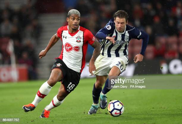 Southampton's Mario Lemina and West Bromwich Albion's Grzegorz Krychowiak battle for the ball during the Premier League match at St Mary's Stadium...
